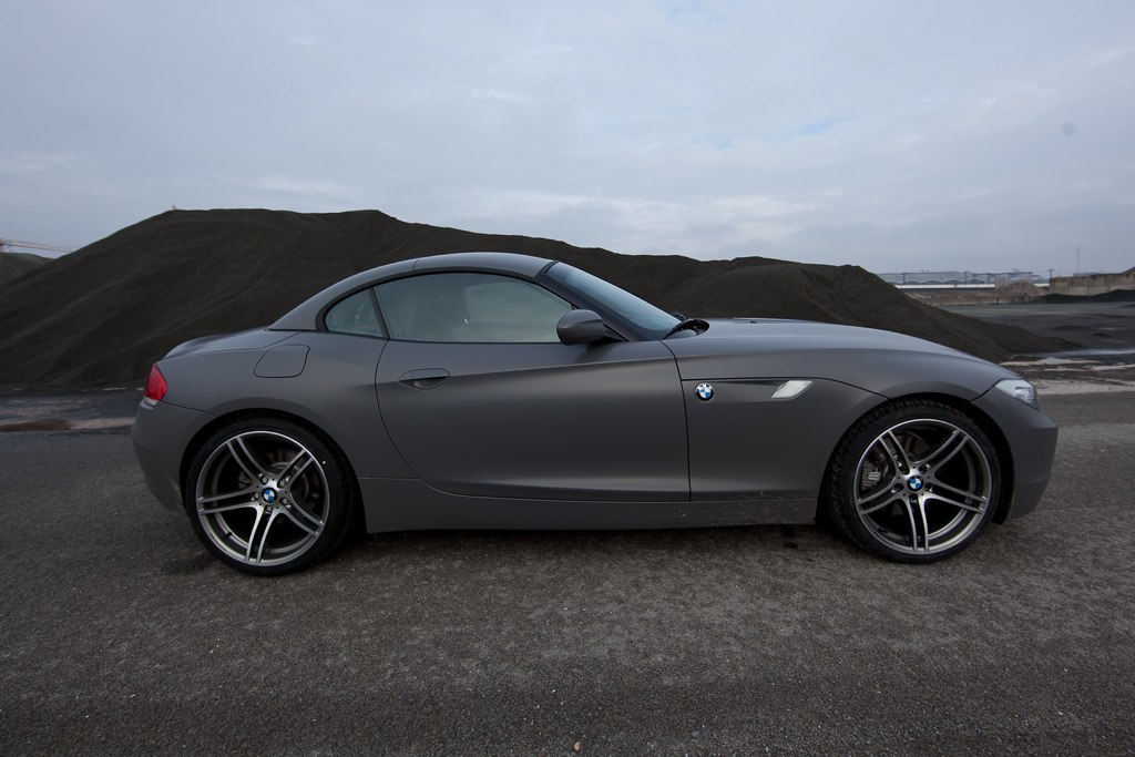 Bmw Z4 E89 Wrapped In Matte Grey Vinyl Film Carscoops