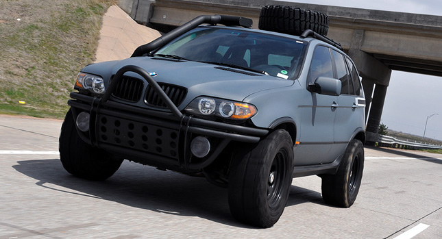wrecked bmw x5 turned into a post apocalyptic flame spitting beast