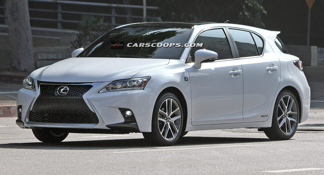 scoop spindle grille 2014 lexus ct 200h f sport caught without camo carscoops. Black Bedroom Furniture Sets. Home Design Ideas