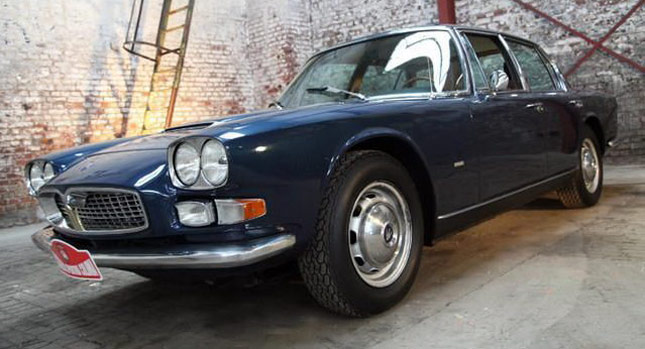 dark blue 1968 maserati quattroporte for sale in germany | carscoops