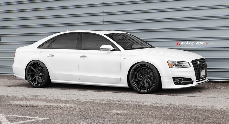 White Audi S8 Hunkers Down On Gloss Black Custom Wheels | Carscoops | Audi A4 White Black Rims |  | Carscoops