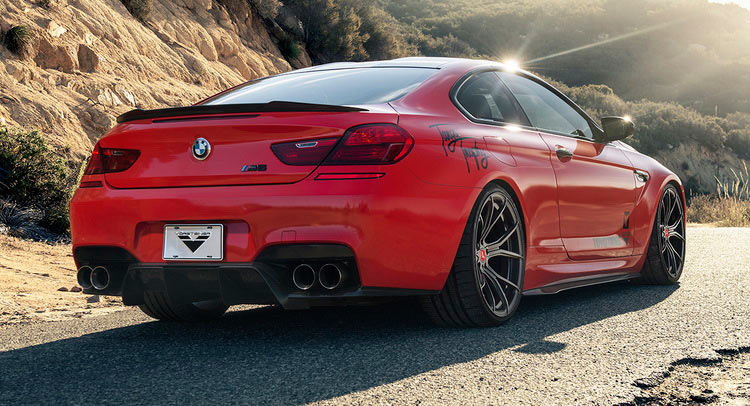 """Red BMW M6 Puts On 21"""" Carbon Graphite Wheels"""