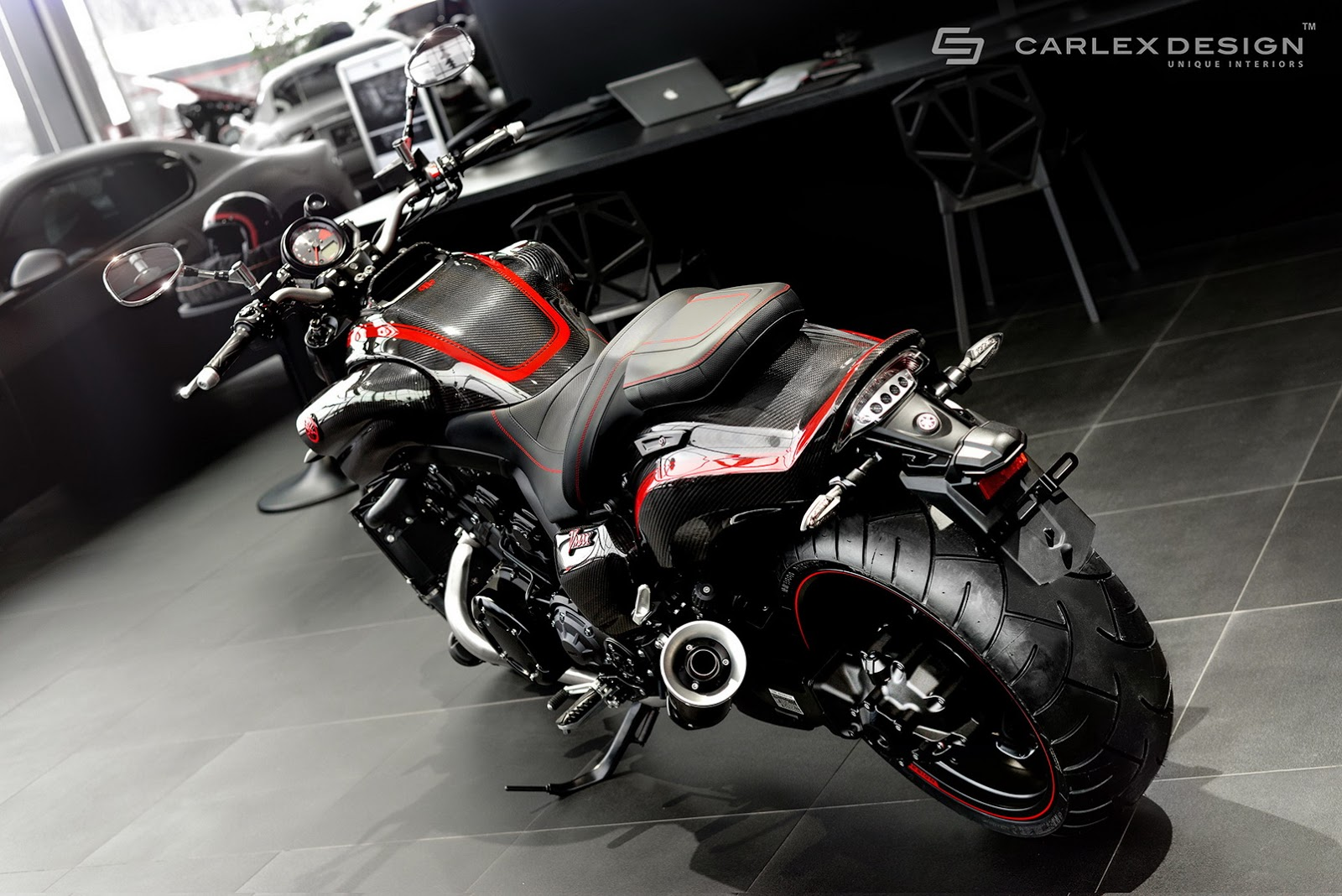 carlex try their hand at bikes with yamaha vmax project. Black Bedroom Furniture Sets. Home Design Ideas