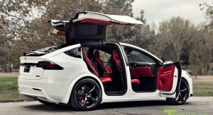 Custom Tesla Model X With Bentley Red Interior Selling For