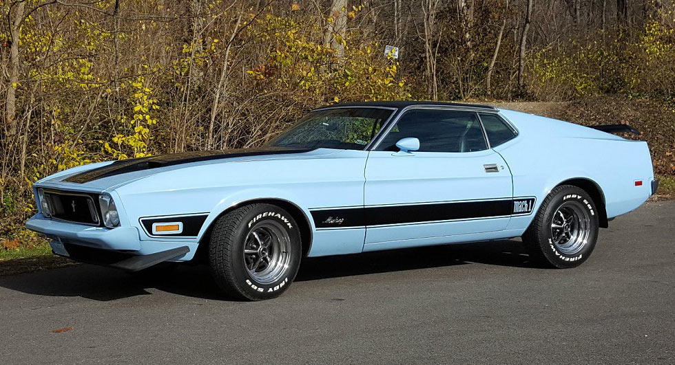 39 baby 39 blue 1973 ford mustang mach 1 could be yours for 14k. Black Bedroom Furniture Sets. Home Design Ideas