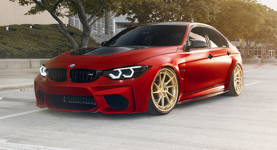 Red Bmw M3 Tries To Look Special With Gold Wheels Carscoops