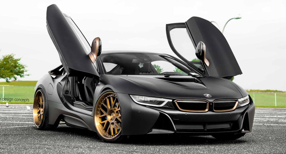 Matte Black Bmw I8 Stuns With Bronze Wheels Carscoops