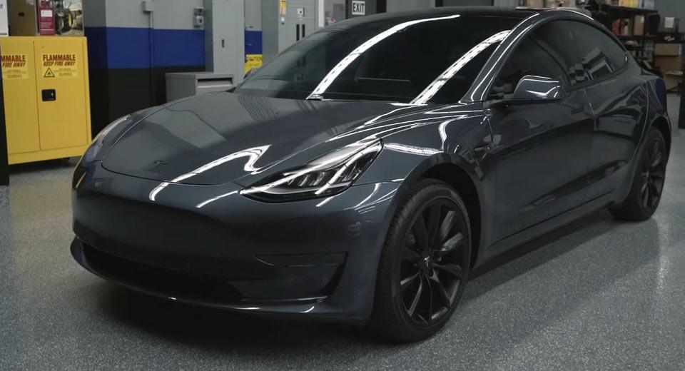 Midnight Silver Metallic Tesla Model 3 Shows Its Darker