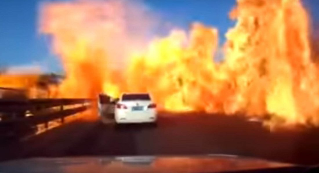 LPG Leak Sets Chinese Highway Ablaze