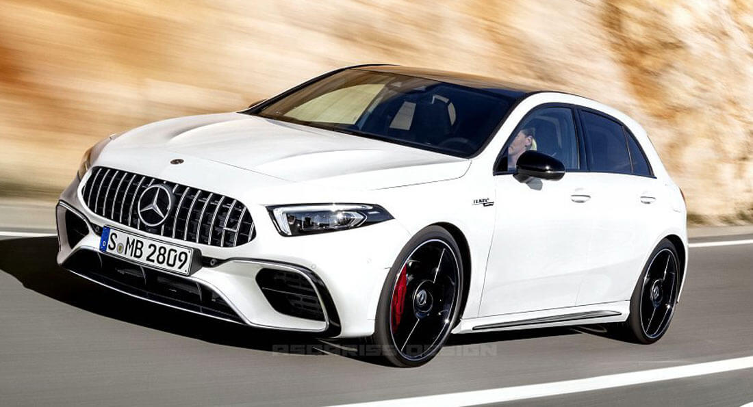 new mercedes amg a45 confirmed with 400 hp drift mode possible carscoops. Black Bedroom Furniture Sets. Home Design Ideas