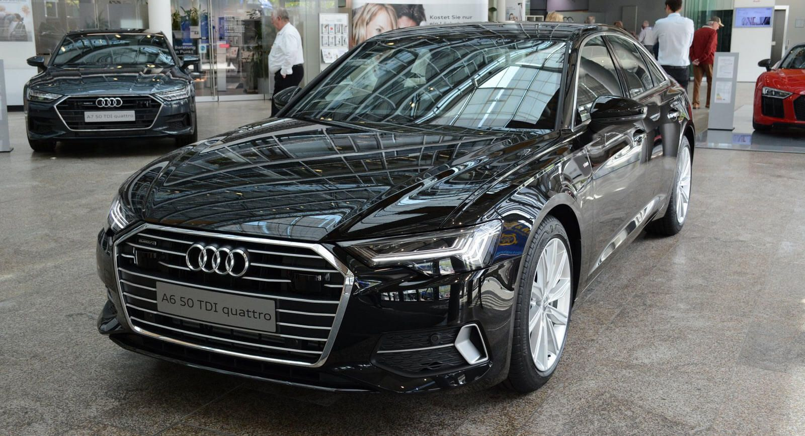 2019 audi a6 shows up at the forum wearing mythos black metallic carscoops. Black Bedroom Furniture Sets. Home Design Ideas