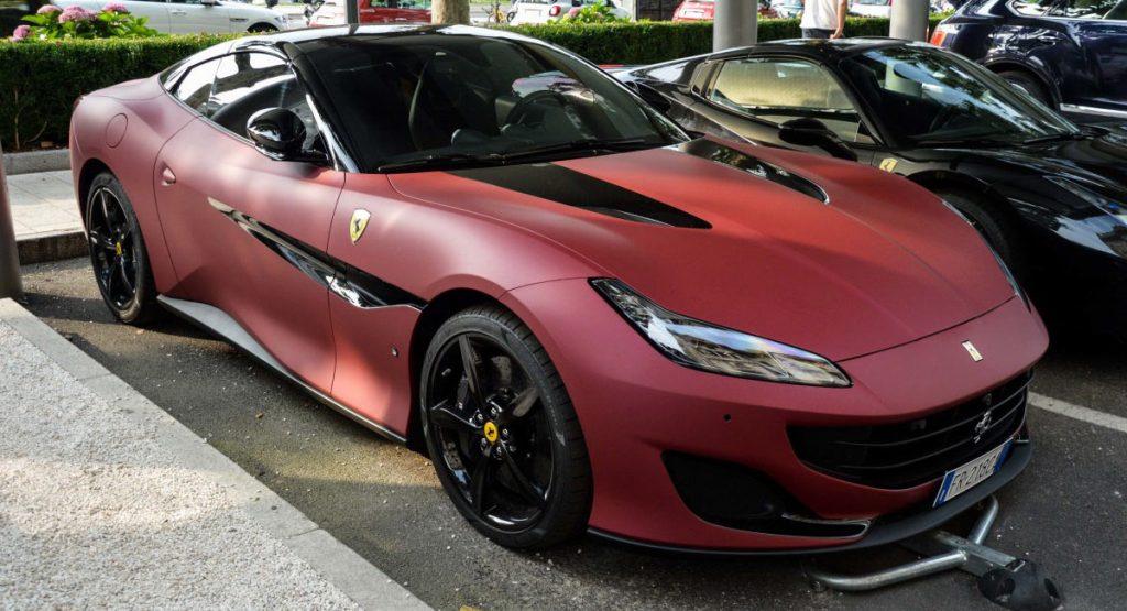 Ferrari Portofino Spotted With Matte Red Black Dual Tone Exterior Carscoops