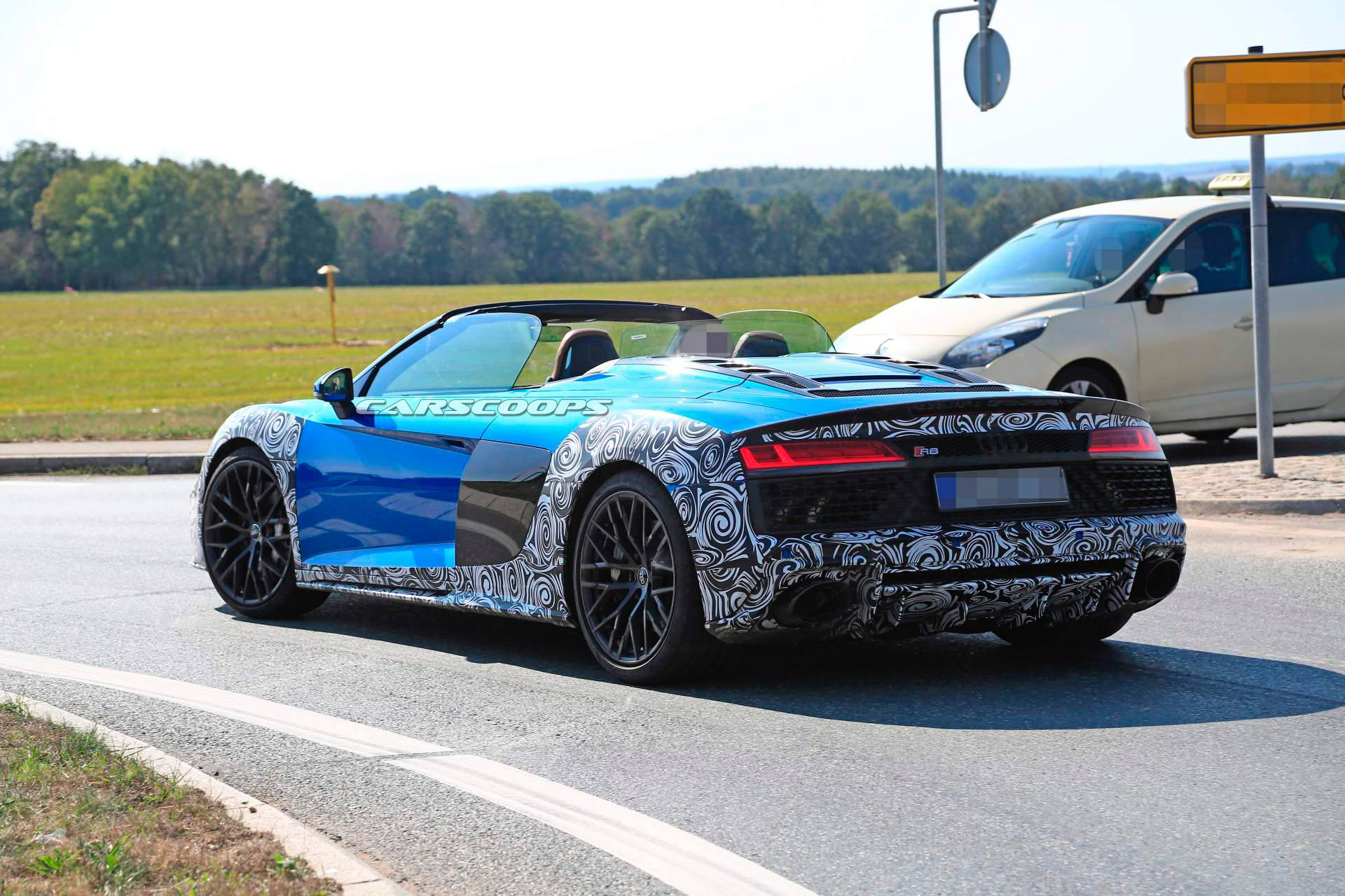 2019 audi r8 spyder makes topless spy debut