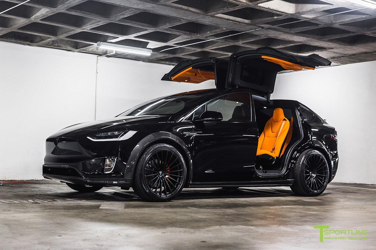 Orange And The All Black Meet T Sportline S Widebody Tesla Model X Carscoops