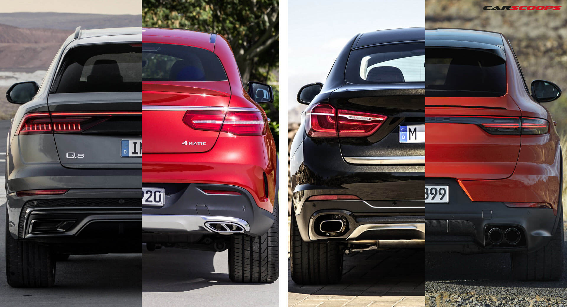 Porsche Cayenne Coupe Vs Bmw X6 Vs Mercedes Gle Coupe Vs Audi Q8 Here S How They Stack Up Carscoops