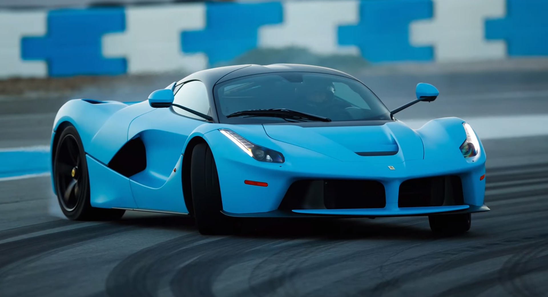 Two Baby Blue Ferrari LaFerraris Hit The Racetrack In Anger
