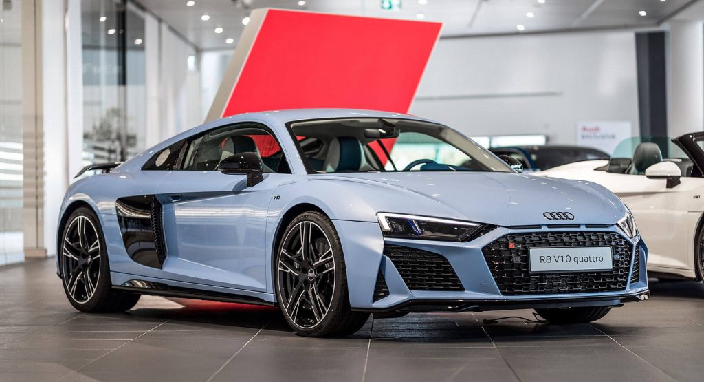 Check Out This Frosted Glass Blue Audi R8 Coupe With A Dual-Tone Interior