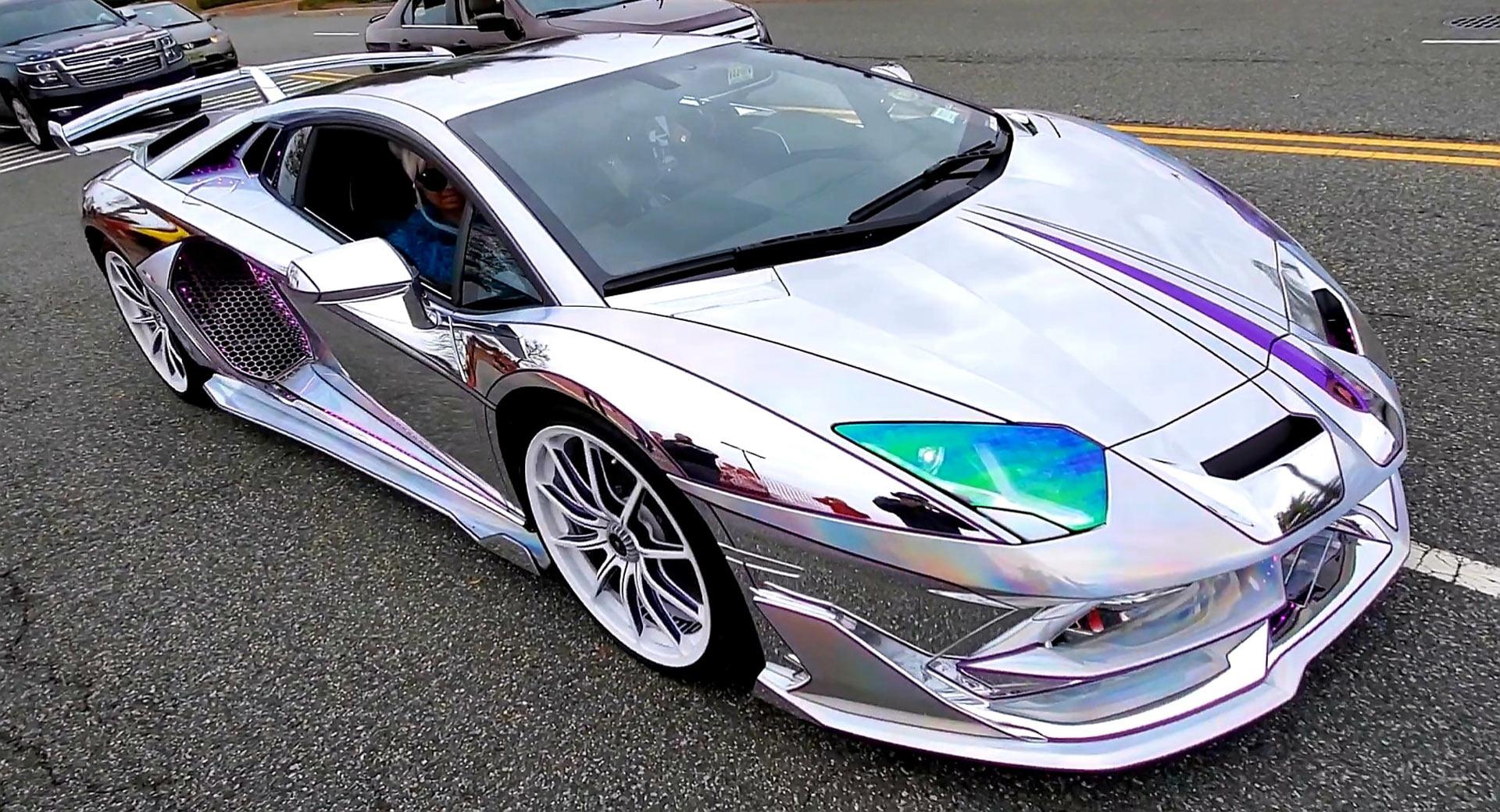 Holographic Chrome Lamborghini Aventador SVJ Is As Bright As Times Square
