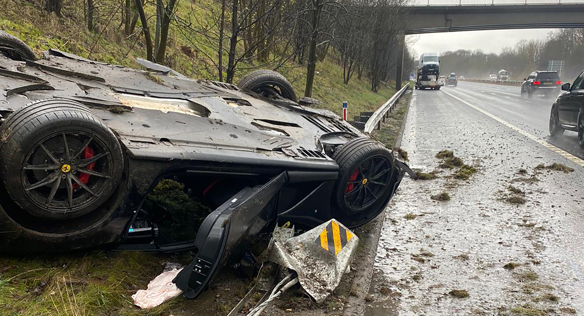 Storm Christoph Allegedly To Blame For Ferrari 812 Superfast Crash On Highway Carscoops